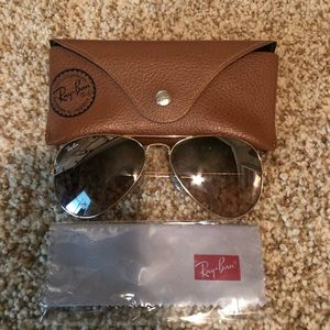 Gold & light brown Ray Ban Aviators